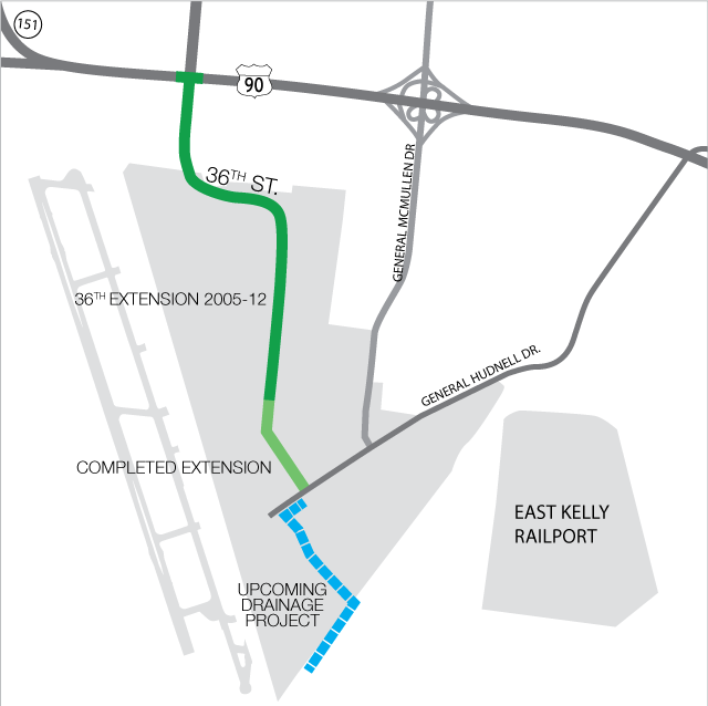 Map of completed 36th Street extention, Dec 2017