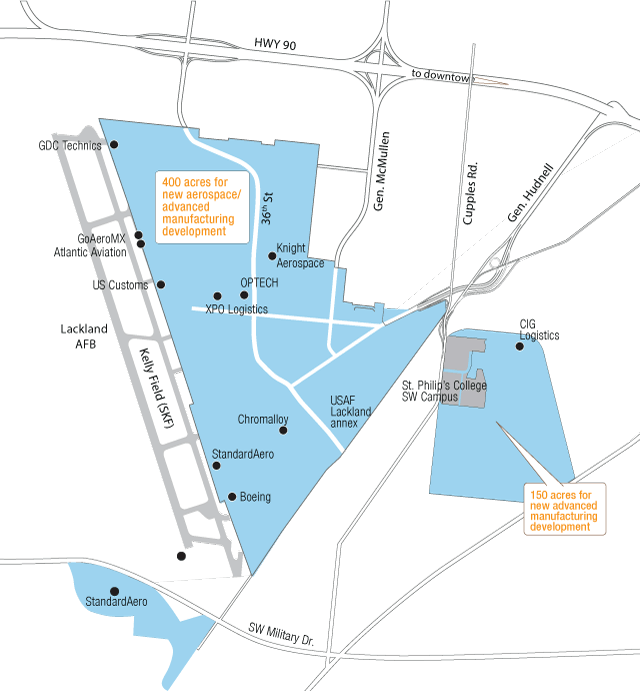 Port San Antonio aerospace map