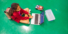 Middle School Kids Program Mini Self-Driving Cars at Coding Camp